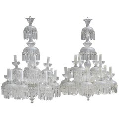 Large 1950s Bohemian Crystal Chandeliers Twelve Lights Elegance and Simplicity
