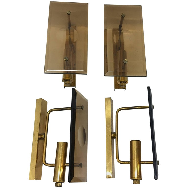 Set of Four Mid-Century Modern Italian Wall Sconces, circa 1960