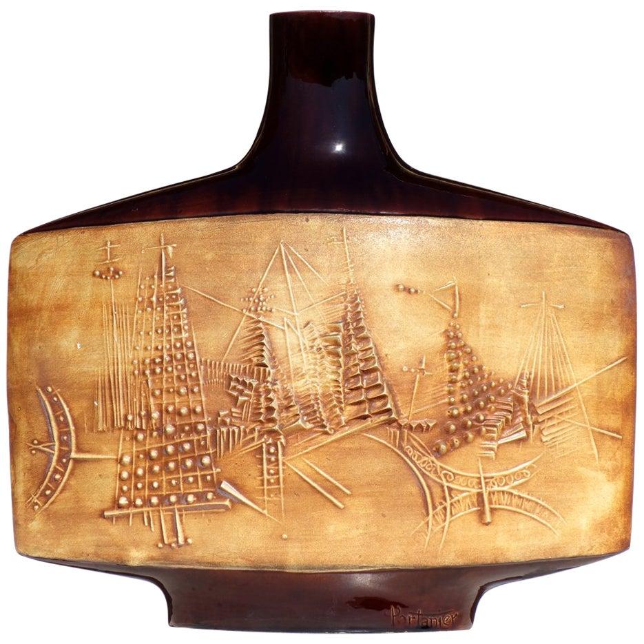 1950s by Gilbert Portanier Vallauris France Glazed Ceramic Vase