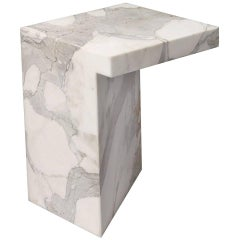 Imbalance Side Table in Statuario Marble by Hervé Langlais