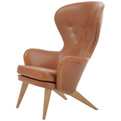Siesta Lounge Chair in Cognac Leather Design by Carl-Gustaf Hiort Af Ornäs