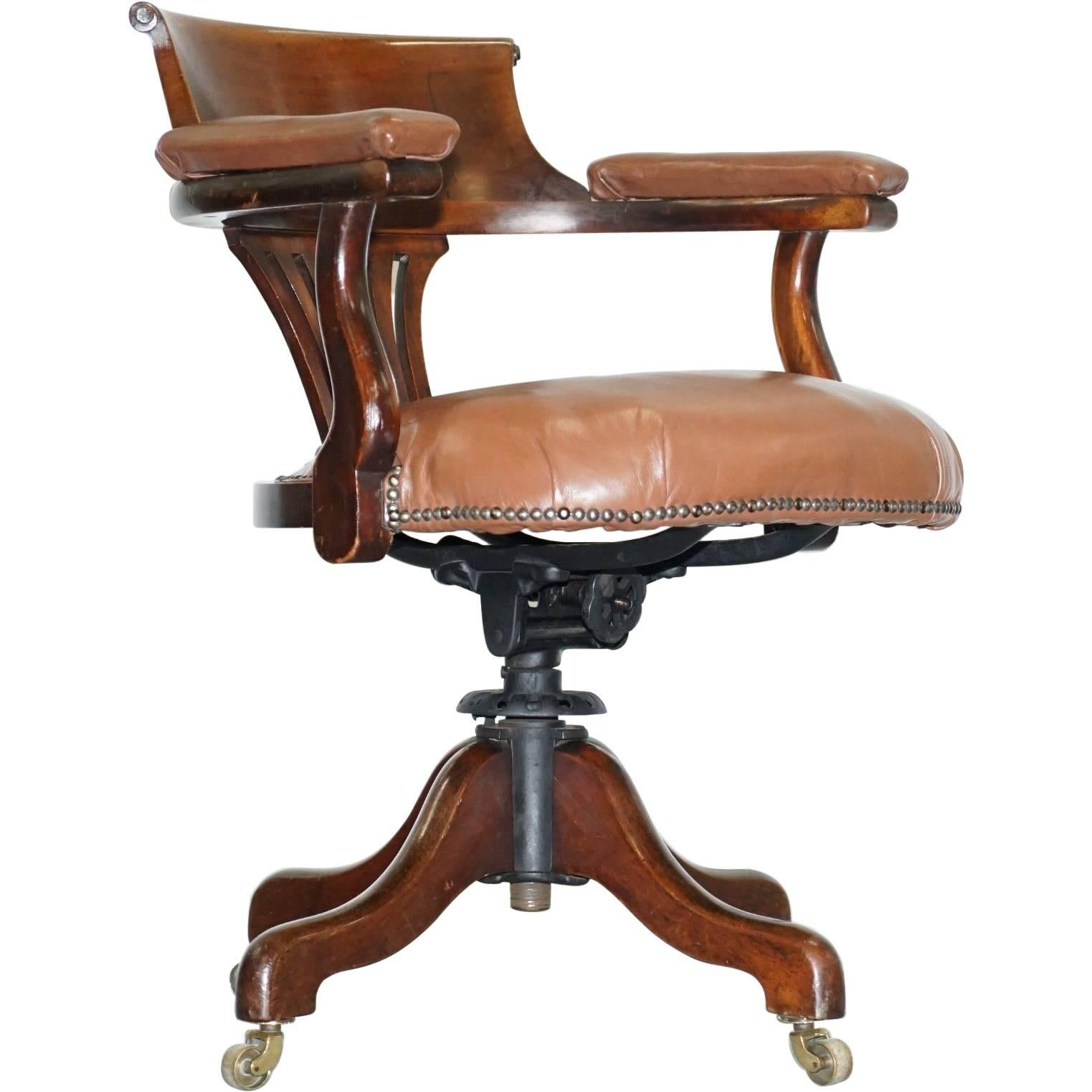 American Victorian Brown Leather Captains Office Chair Original Swivel  Frame For Sale