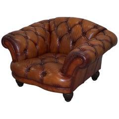 Tetrad Oskar Chesterfield Vintage Brown Leather Armchair Part of Suite