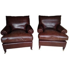 Comfy Classic Pair of George Smith Roomy Leather Club Chairs