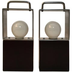Pair of 1960s Modernist Aluminum and Chrome Mini Lamps