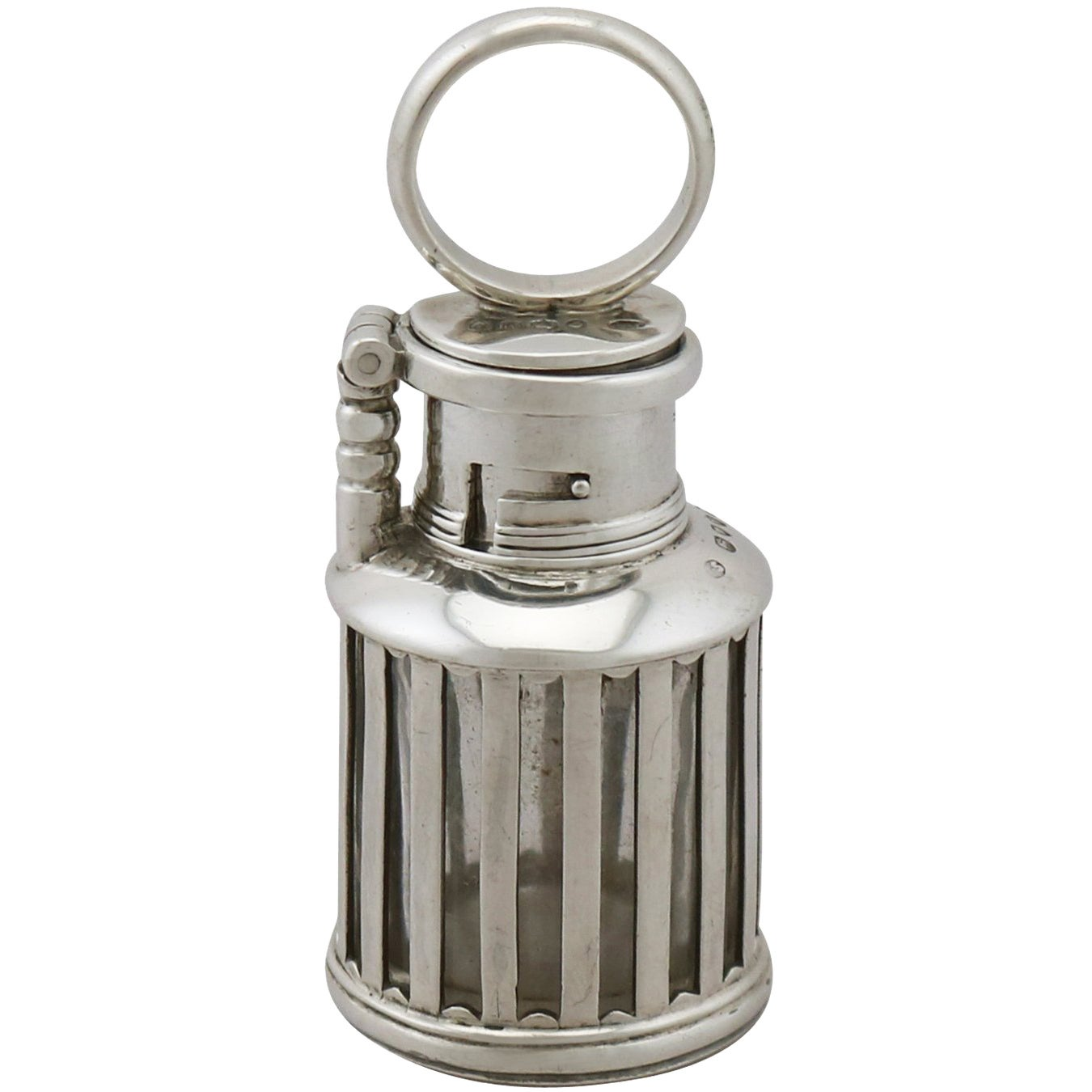 1880s Antique Victorian Sterling Silver 'Lantern' Inkwell