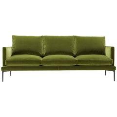 Segno Sofa in Olive Green Velvet by Amura Lab