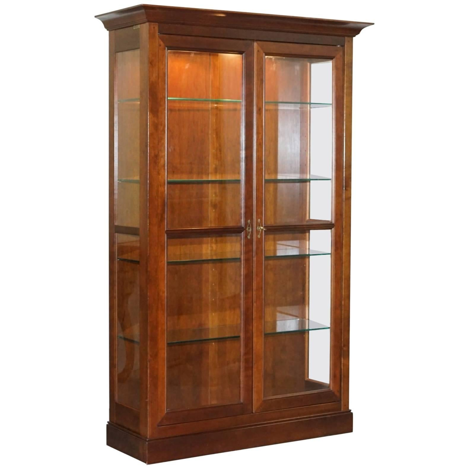 stunning grange solid cherry wood glass display cabinet with lights rh 1stdibs co uk  glass china cabinet with lights