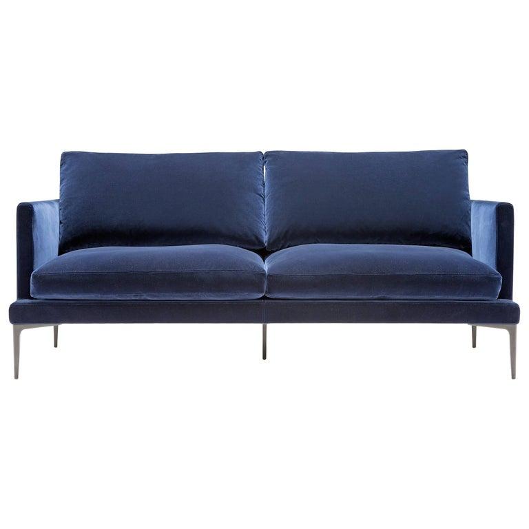 Segno Sofa in Blue Velvet by Amura Lab