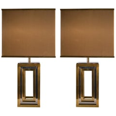 1960s Pair of Romeo Rega Table Lamps in Brass & Chrome with Original Taupe Shade