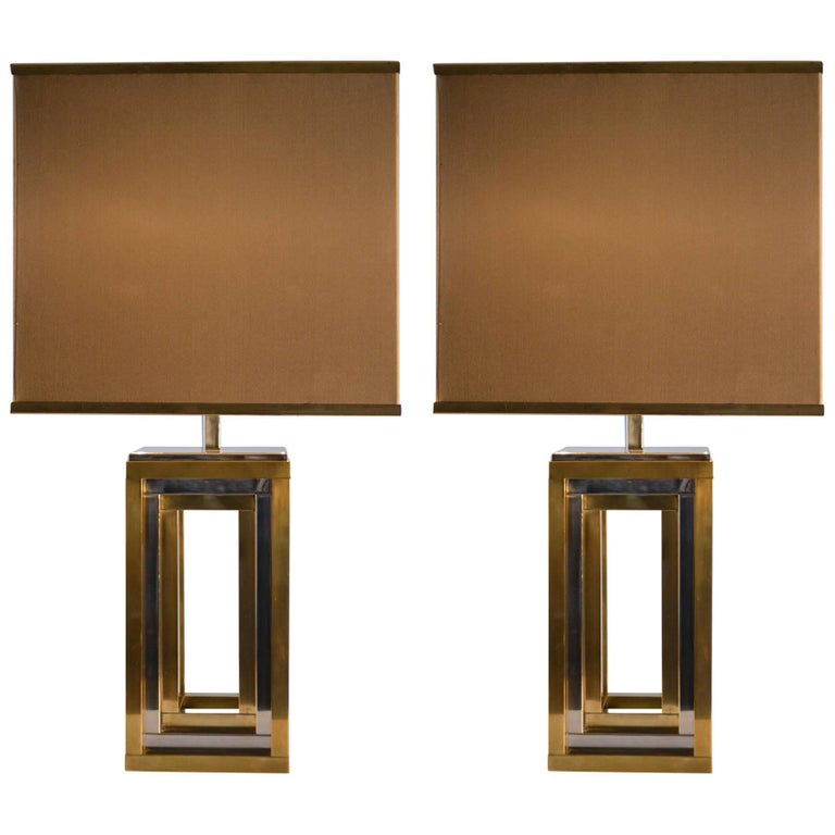 1960s Pair of Romeo Rega Table Lamps in Brass & Chrome with Original Taupe Shade For Sale