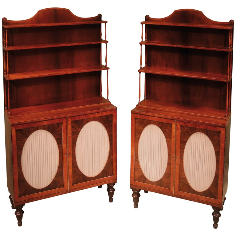 19th Century Regency Period Rosewood Two-Door Cabinets