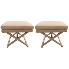 Stylish Pair of Upholstered X Ottomans Benches