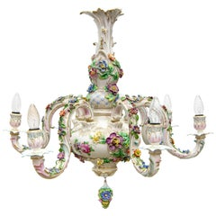 Dresden Porcelain Chandelier with Polychrome Flowers, 1970