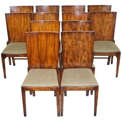 Set of 12 Art Deco Handcrafted Flamed Walnut Dining Chairs Lovely Substantial