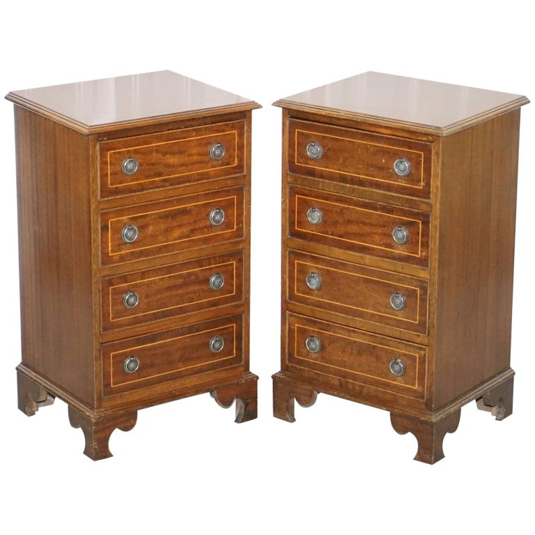 Pair of Vintage English Flamed Mahogany Side Lamp End Bed Table Drawers