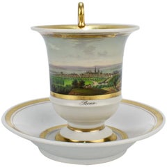Early 19th Century Biedermeier Period Topographical Porcelain Cup and Saucer