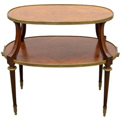 Bronze-Mounted Napoleon Three Two-Tier Side Table, with Marquetry