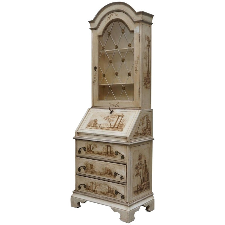 Vintage French Shabby Chic Style Hand-Painted Bureau Bookcase Cabinet Desk
