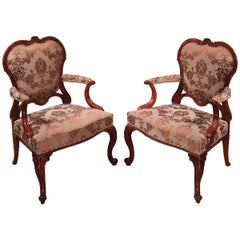 18th Century Chippendale Mahogany Library Armchairs