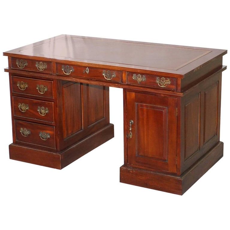 Solid Mahogany Twin Pedestal Partner Desk Custom Designed to House Computer Pc