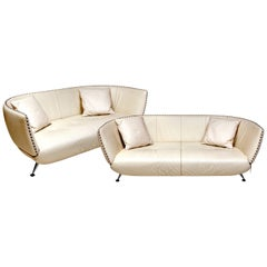 Two Ivory Leather De Sede Sofas, 1980