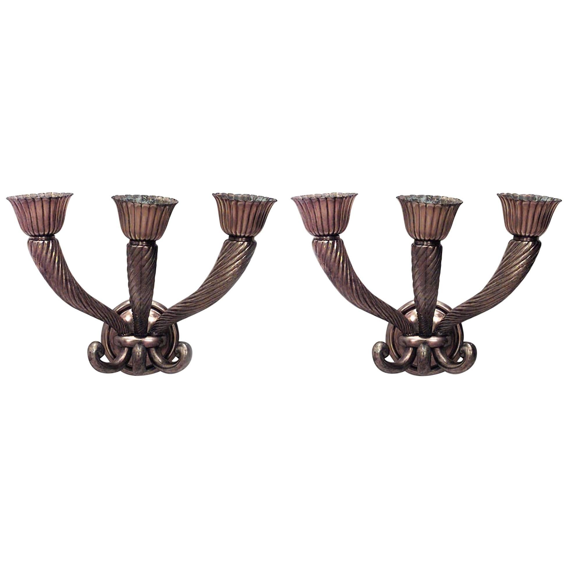 Pair of French 1940s Bronze Wall Sconces