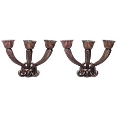 Pair of French Mid-Century Bronze Cornucopia Wall Sconces