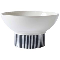 Handmade Porcelain Bowl, Elevated, Striped, Modular, Contemporary, Modern