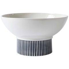 Handmade Porcelain Bowl, Elevated, Striped, Modular, Contemporary, Modern