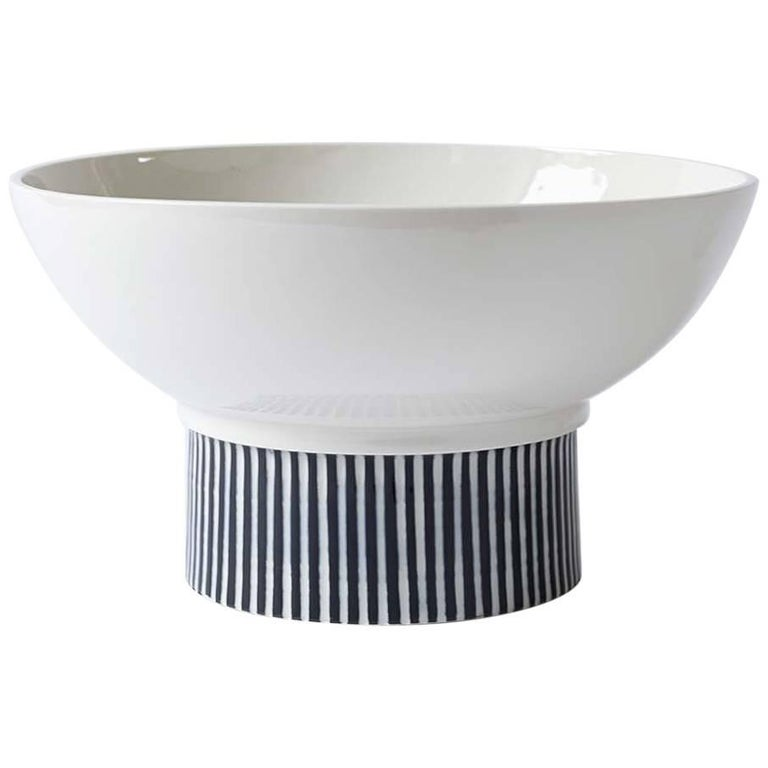 Handmade Porcelain Bowl, Elevated, Striped, Modular, Contemporary, Modern  For Sale