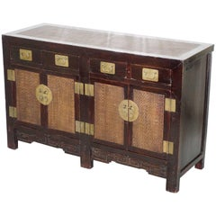 Large Chinese Qing Dynasty Handmade Sideboard with Rattan Weaved Detailing