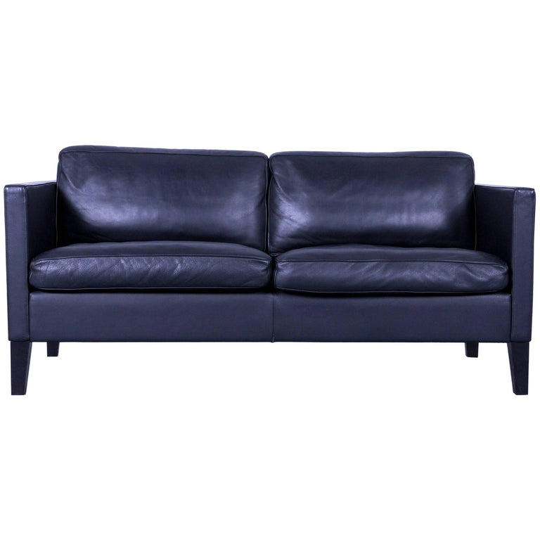 De Sede Designer Sofa Black Leather Two-Seat Modern