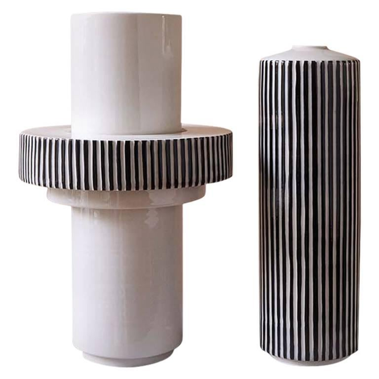 Handmade Porcelain Vase, Modular, Striped Ring, Contemporary, Modern