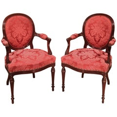 Pair of Hepplewhite Period Mahogany Armchairs