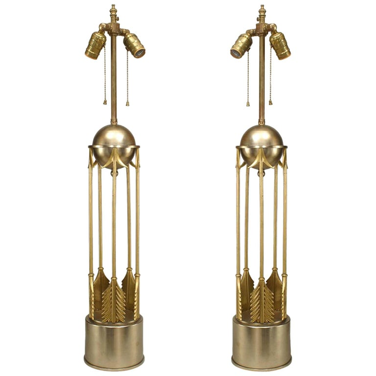 Pair of American Art Moderne 1950s Steel and Brass Table Lamps