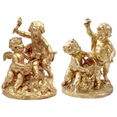 Allegory of the Vine and the Music Pair of Gilt Terracotta Sculptures