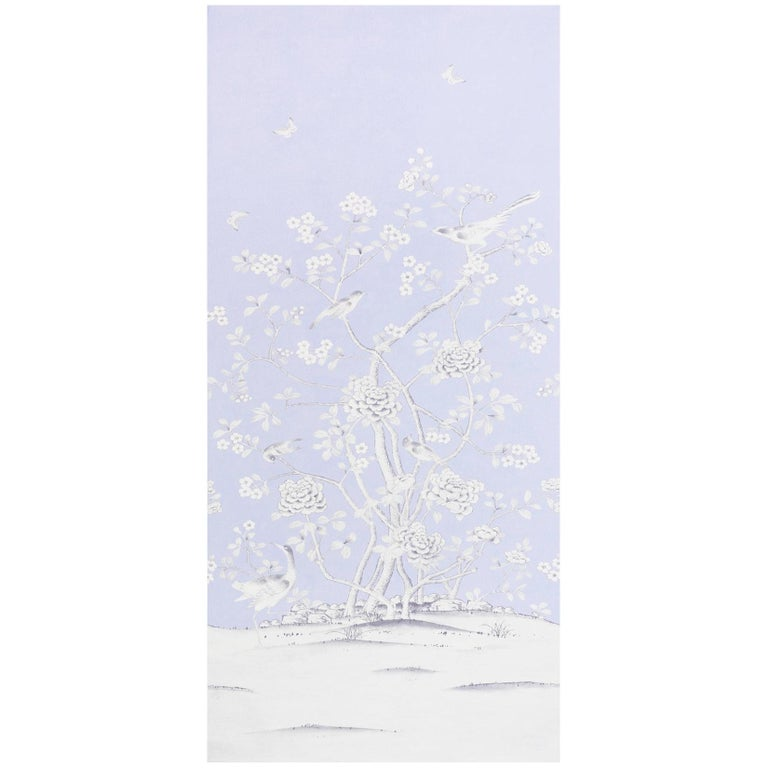 Schumacher Mary McDonald Chinois Palais Floral Lavender Wallpaper Panel For Sale