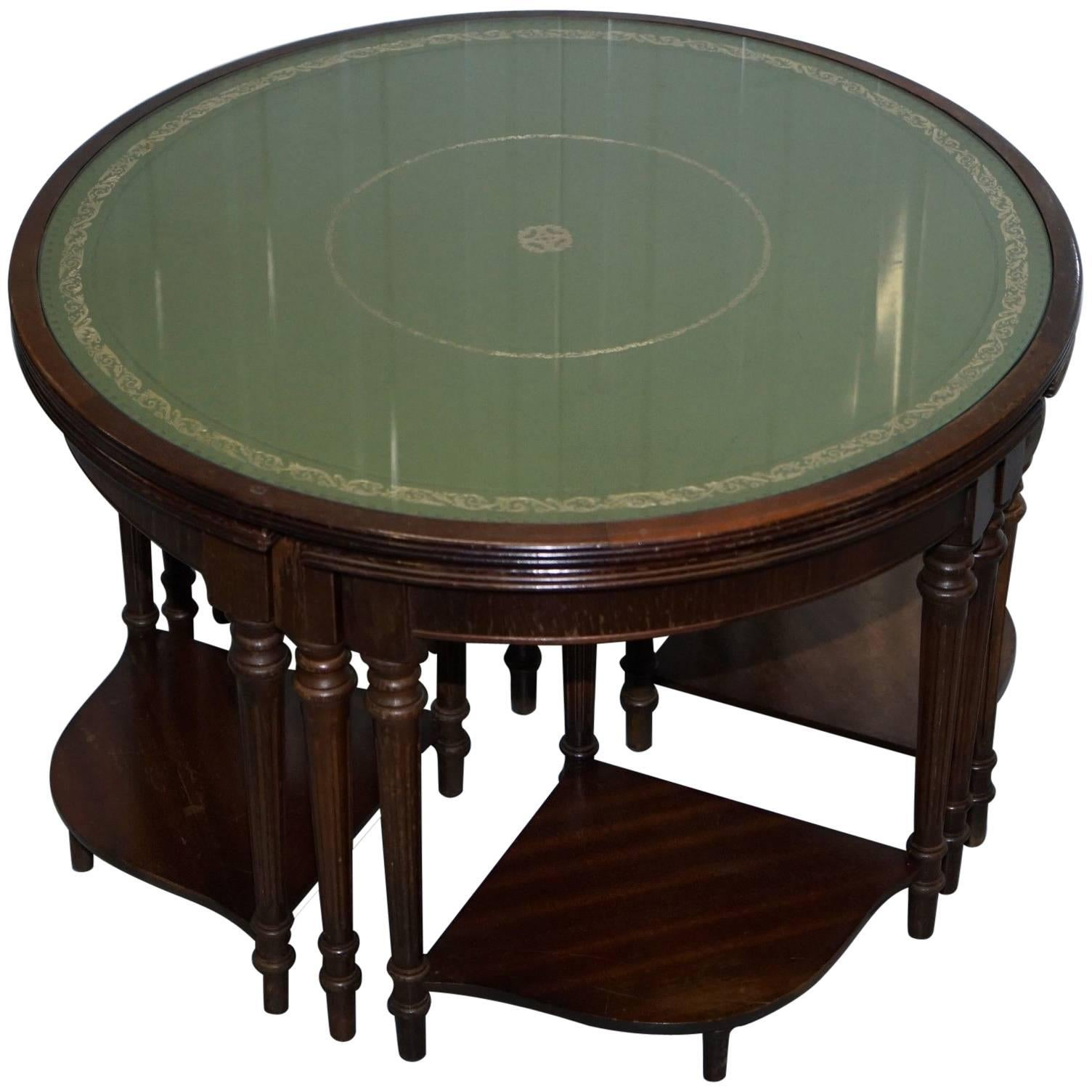 Lovely Regency Style Drum Coffee Table With Nested Tables Under Green  Leather For Sale
