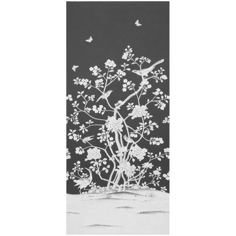 Schumacher Mary McDonald Chinois Palais Floral Noir Wallpaper Panel For Sale