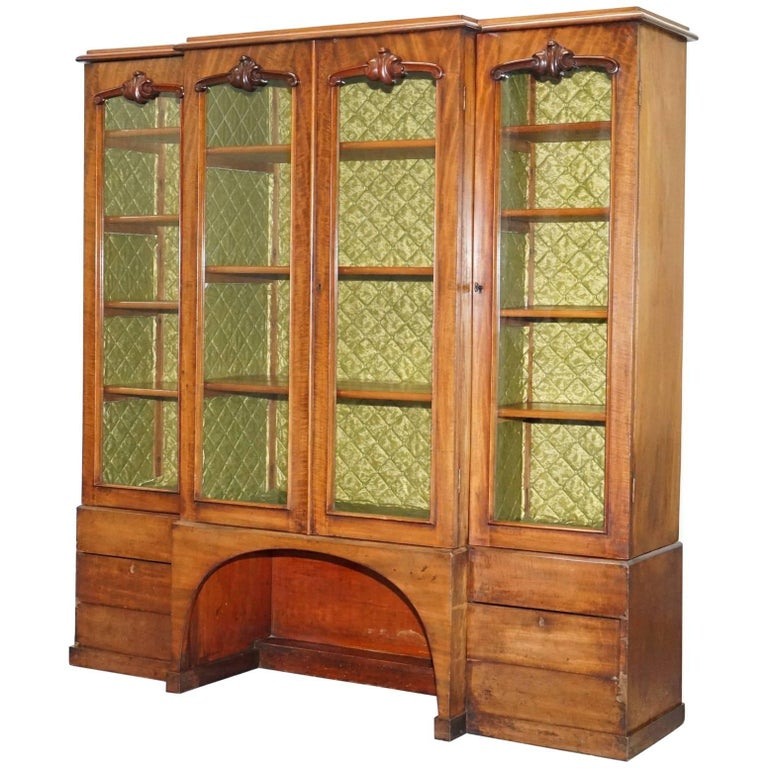 Tall Victorian 19th Century Mahogany Library Breakfront Bookcase Cabinet