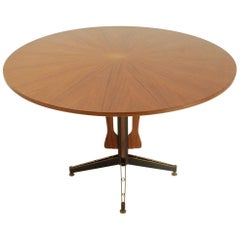 Italian Teak Round Top Dining Table, 1960s