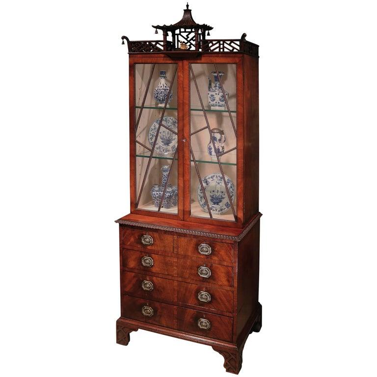 Chippendale Design Mahogany Small Display Bookcase