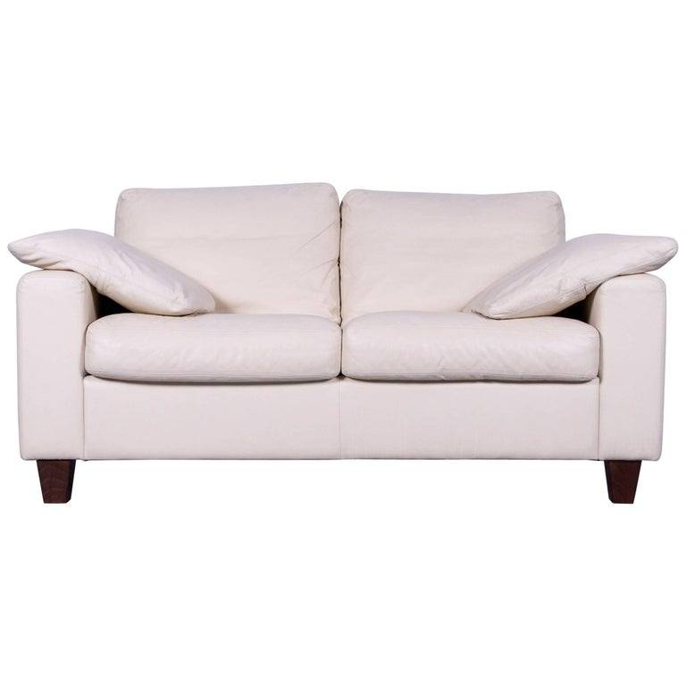 Machalke Designer Off White Leather Sofa Two Seat Couch For