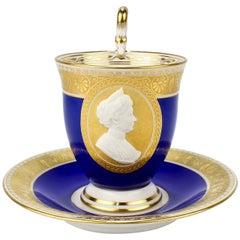 KPM Berlin Porcelain Blue Cameo Empress Augusta Victoria Portrait Cup & Saucer