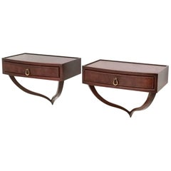 Pair of Wall-Mounted Mahogany Nightstands Ascribable to Ulrich, 1940s-1950s
