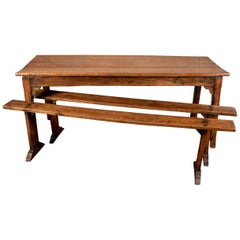 Antique French Walnut Farm House Plank Top Table and Benches