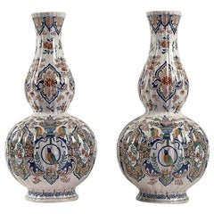 Dutch Early-18th Century, Polychrome Delft Faience Pair of Gourd-Shaped Vases