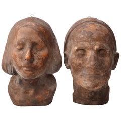 Two 19th Century Rare Wax Death Masks