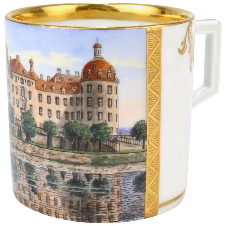 Antique Meissen Porcelain Topographical Royal Jagdschloss Moritzburg Coffee Cup